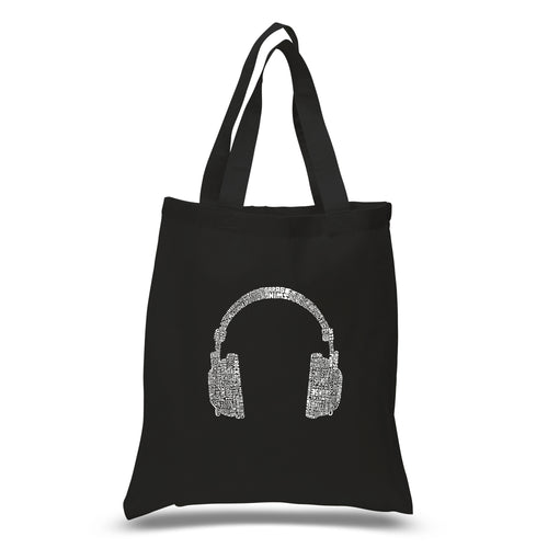 LA Pop Art Small Word Art Tote Bag - 63 DIFFERENT GENRES OF MUSIC