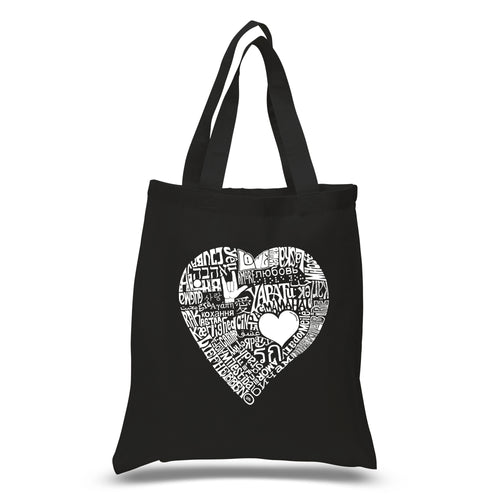 LA Pop Art Small Word Art Tote Bag - LOVE IN 44 DIFFERENT LANGUAGES