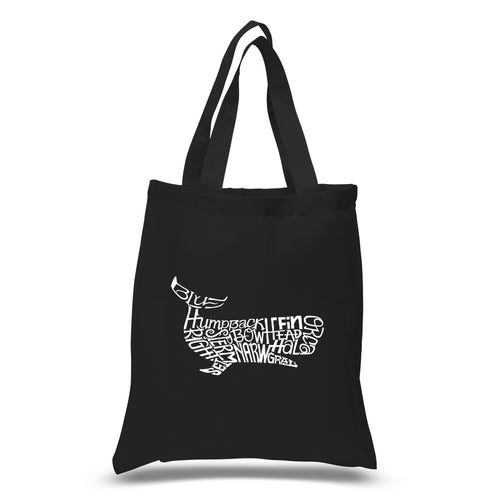 LA Pop Art Small Word Art Tote Bag - Humpback Whale