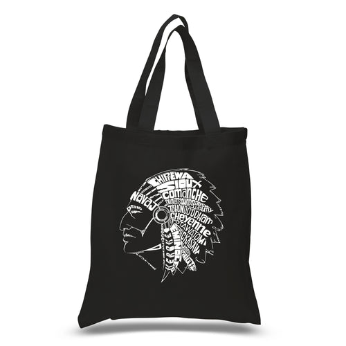 LA Pop Art Small Word Art Tote Bag - POPULAR NATIVE AMERICAN INDIAN TRIBES