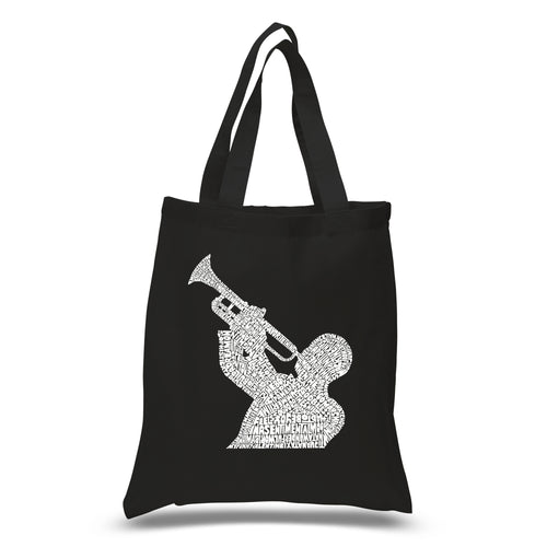 LA Pop Art Small Word Art Tote Bag - ALL TIME JAZZ SONGS