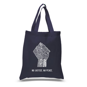 LA Pop Art Small Word Art Tote Bag - No Justice, No Peace