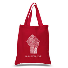 Load image into Gallery viewer, LA Pop Art Small Word Art Tote Bag - No Justice, No Peace