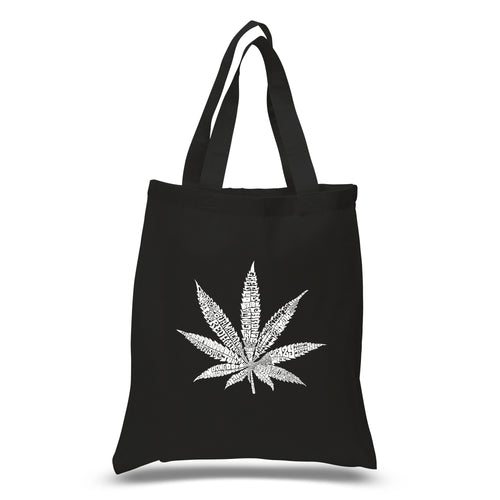 LA Pop Art Small Word Art Tote Bag - 50 DIFFERENT STREET TERMS FOR MARIJUANA
