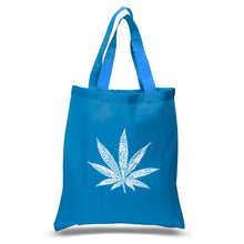 Load image into Gallery viewer, LA Pop Art Small Word Art Tote Bag - 50 DIFFERENT STREET TERMS FOR MARIJUANA