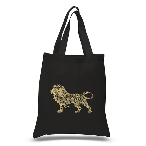 LA Pop Art Small Word Art Tote Bag - Lion