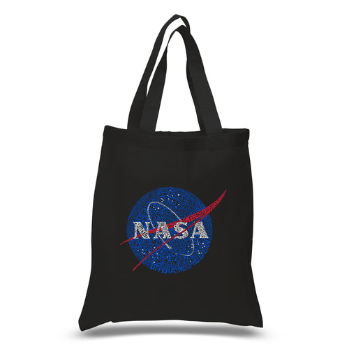 LA Pop Art Small Word Art Tote Bag - NASA's Most Notable Missions