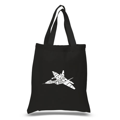 LA Pop Art Small Word Art Tote Bag - FIGHTER JET - NEED FOR SPEED