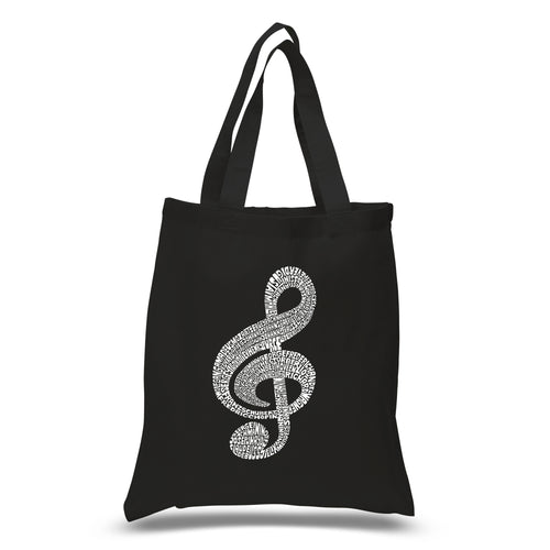 LA Pop Art Small Word Art Tote Bag - Music Note