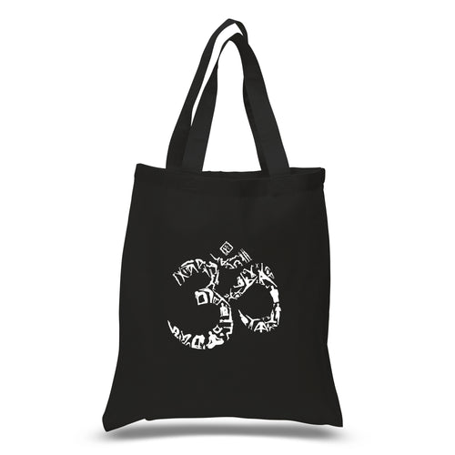 LA Pop Art Small Word Art Tote Bag - THE OM SYMBOL OUT OF YOGA POSES