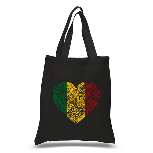 LA Pop Art Small Word Art Tote Bag - One Love Heart