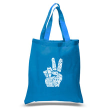 Load image into Gallery viewer, LA Pop Art Small Word Art Tote Bag - PEACE FINGERS
