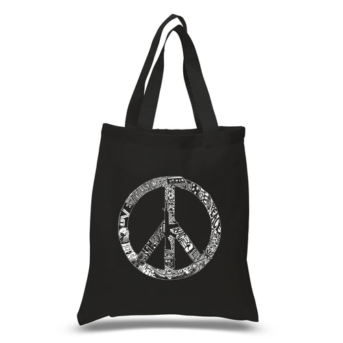 LA Pop Art Small Word Art Tote Bag - PEACE, LOVE, & MUSIC