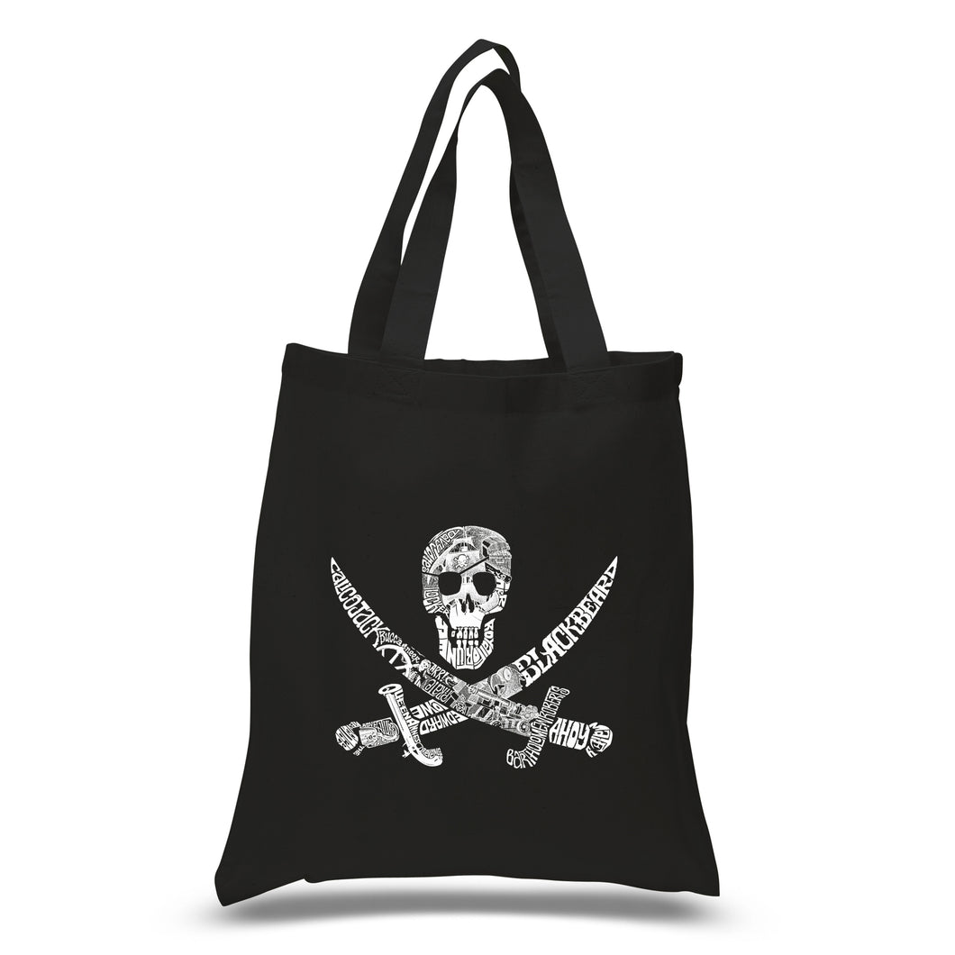 LA Pop Art Small Word Art Tote Bag - PIRATE CAPTAINS, SHIPS AND IMAGERY