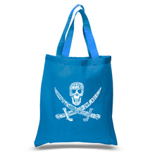 Load image into Gallery viewer, LA Pop Art Small Word Art Tote Bag - PIRATE CAPTAINS, SHIPS AND IMAGERY