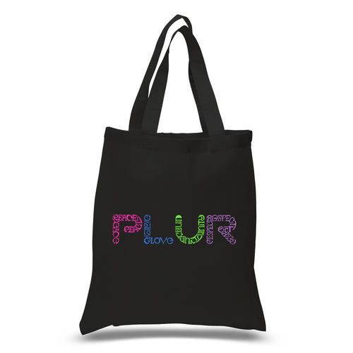 LA Pop Art Small Word Art Tote Bag - PLUR