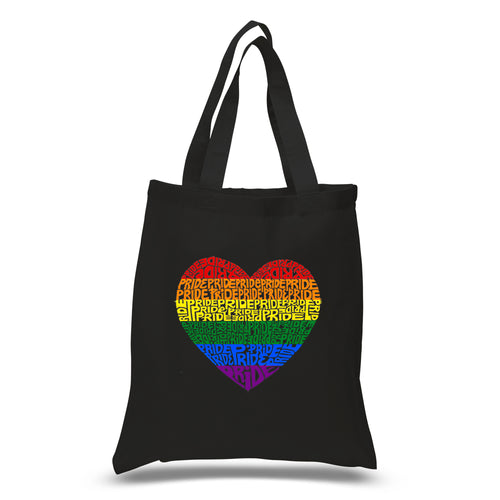 LA Pop Art Small Word Art Tote Bag - Pride Heart