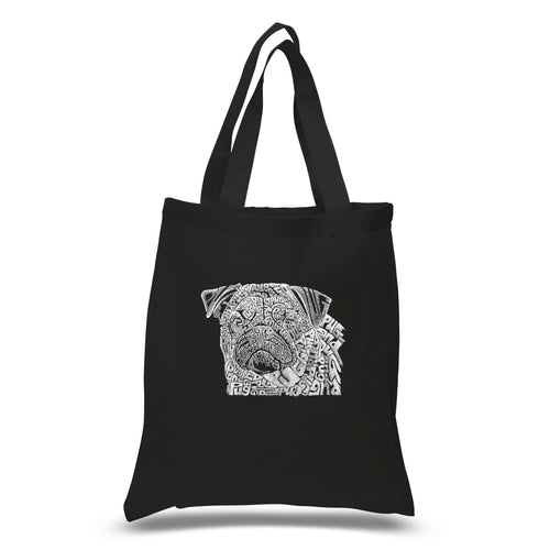 LA Pop Art Small Word Art Tote Bag - Pug Face