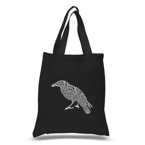 LA Pop Art Small Word Art Tote Bag - Edgar Allan Poe's The Raven