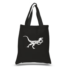 Load image into Gallery viewer, LA Pop Art Small Word Art Tote Bag - Velociraptor