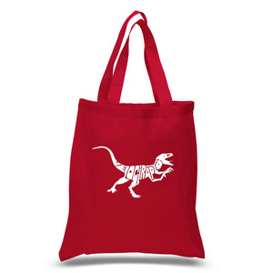 LA Pop Art Small Word Art Tote Bag - Velociraptor