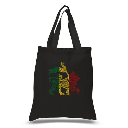 LA Pop Art Small Word Art Tote Bag - Rasta Lion - One Love