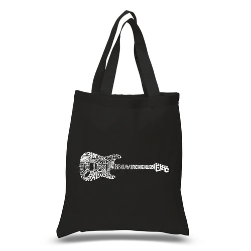 LA Pop Art Small Word Art Tote Bag - Rock Guitar