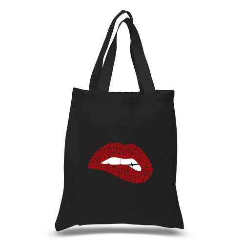 LA Pop Art Small Word Art Tote Bag - Savage Lips