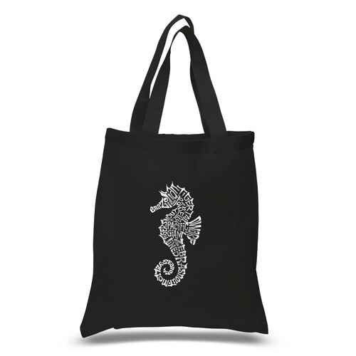 LA Pop Art Small Word Art Tote Bag - Types of Seahorse