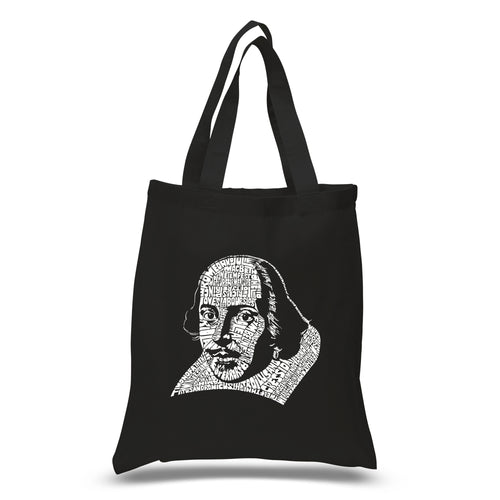 LA Pop Art Small Word Art Tote Bag - THE TITLES OF ALL OF WILLIAM SHAKESPEARE'S COMEDIES & TRAGEDIES