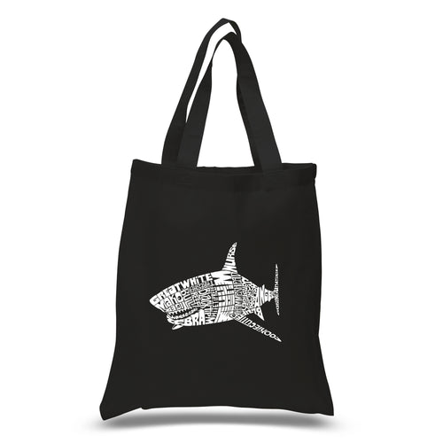 LA Pop Art Small Word Art Tote Bag - SPECIES OF SHARK