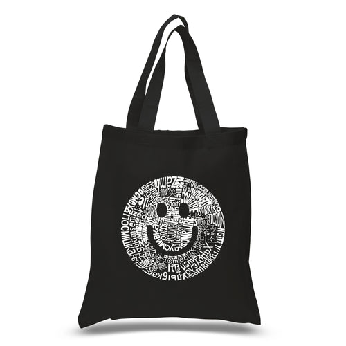 LA Pop Art Small Word Art Tote Bag - SMILE IN DIFFERENT LANGUAGES