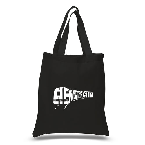 LA Pop Art Small Word Art Tote Bag - NY SUBWAY