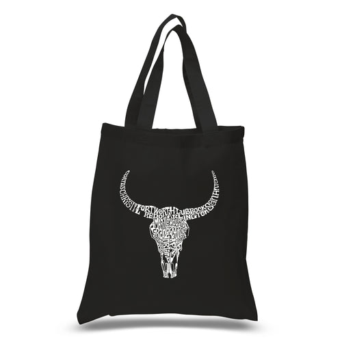 LA Pop Art Small Word Art Tote Bag - Texas Skull