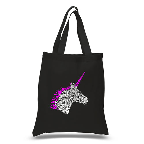 LA Pop Art Small Word Art Tote Bag - Unicorn