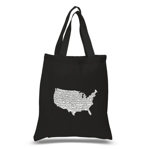 LA Pop Art Small Word Art Tote Bag - THE STAR SPANGLED BANNER