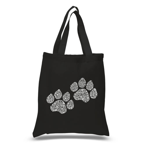 LA Pop Art Small Word Art Tote Bag - Woof Paw Prints