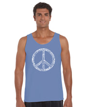 Load image into Gallery viewer, LA Pop Art Men's Word Art Tank Top - THE WORD PEACE IN 77 LANGUAGES