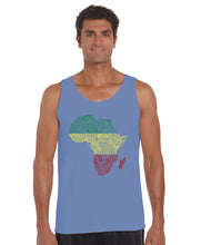 Load image into Gallery viewer, LA Pop Art Men's Word Art Tank Top - Countries in Africa