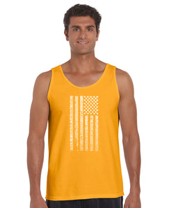LA Pop Art Men's Word Art Tank Top - National Anthem Flag