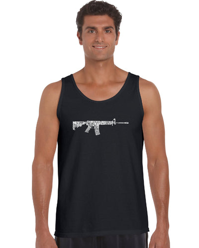 LA Pop Art Men's Word Art Tank Top - AR15 2nd Amendment Word Art