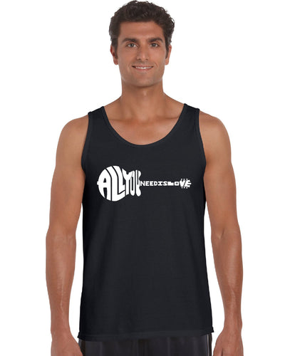 LA Pop Art Men's Word Art Tank Top - All You Need Is Love