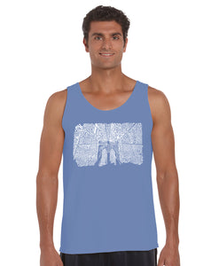 LA Pop Art Men's Word Art Tank Top - Brooklyn Bridge