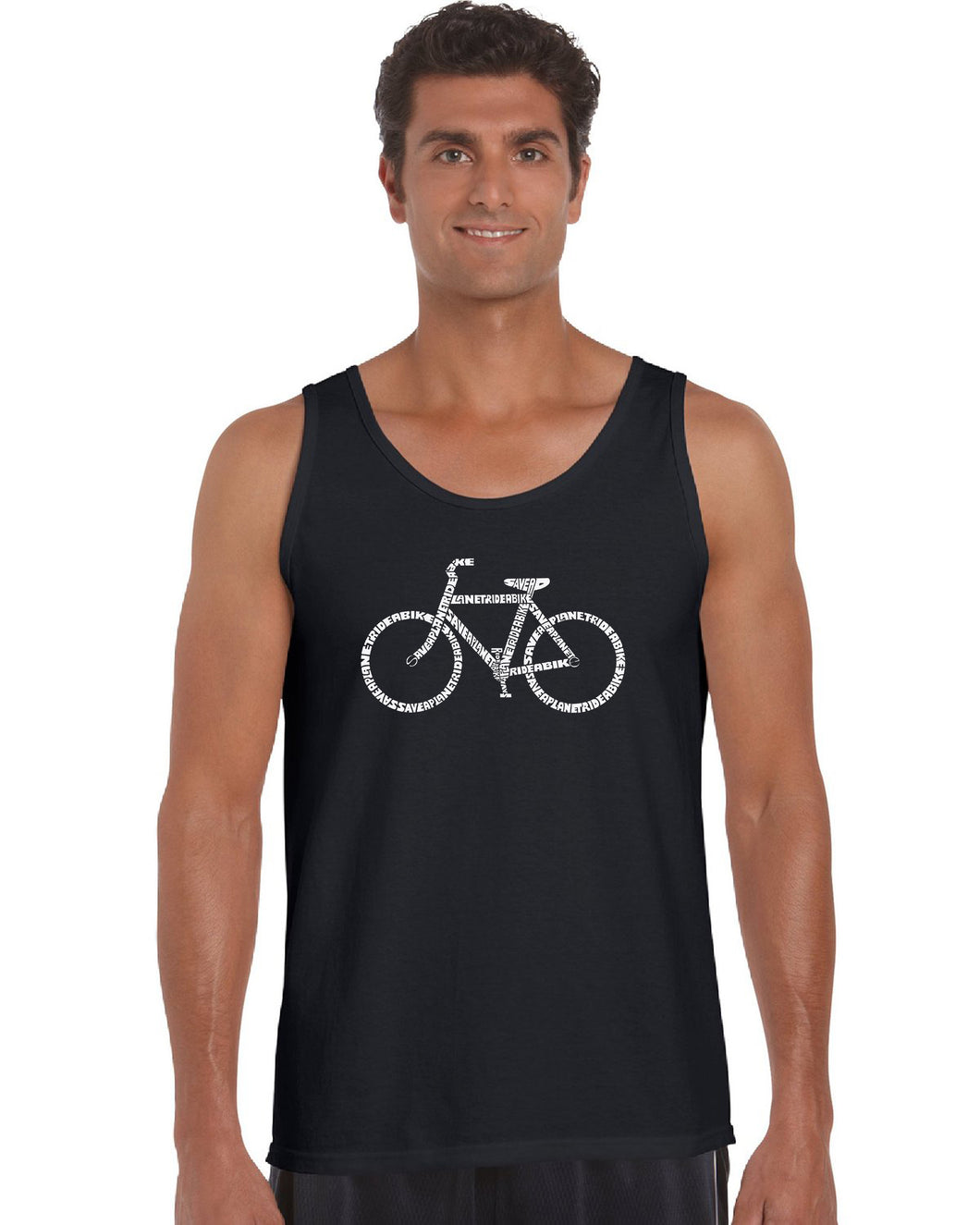 LA Pop Art Men's Word Art Tank Top - SAVE A PLANET, RIDE A BIKE