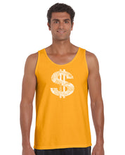 Load image into Gallery viewer, LA Pop Art Men's Word Art Tank Top - Dollar Sign