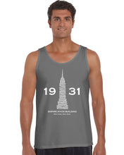 Load image into Gallery viewer, LA Pop Art Men's Word Art Tank Top - Empire State Building