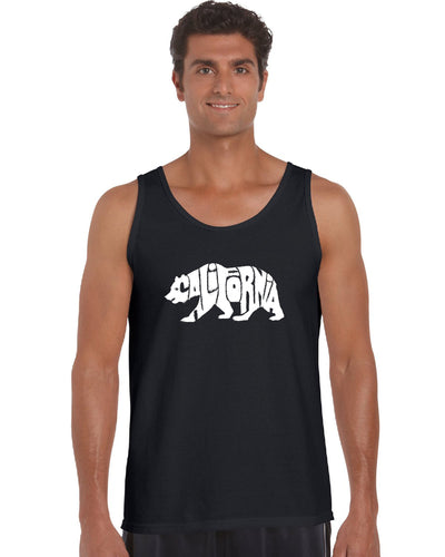 LA Pop Art Men's Word Art Tank Top - California Bear