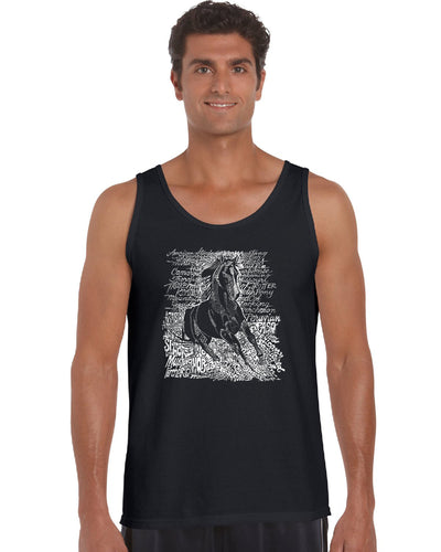 LA Pop Art Men's Word Art Tank Top - POPULAR HORSE BREEDS