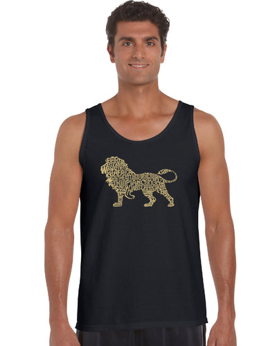 LA Pop Art Men's Word Art Tank Top - Lion