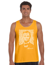 Load image into Gallery viewer, LA Pop Art Men's Word Art Tank Top - ABRAHAM LINCOLN - GETTYSBURG ADDRESS